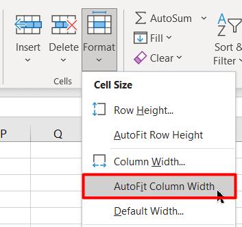 Click on the AutoFit Column Width option under the Format Dropdown menu
