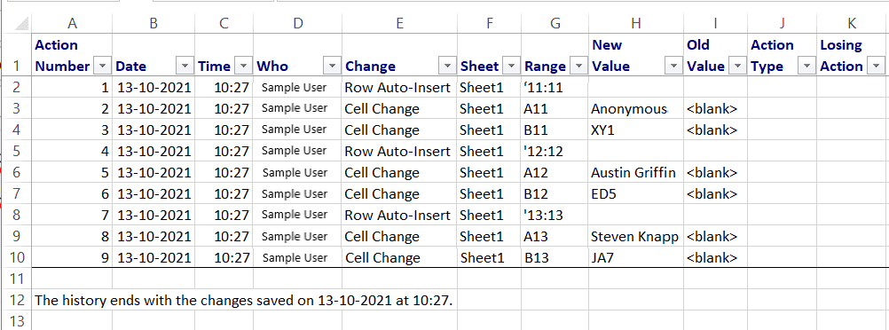 All tracked changes will be displayed in a separate sheet titled History